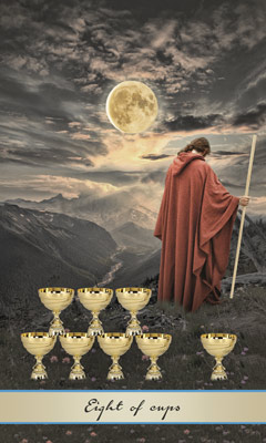 Card Meaning of Eight of Cups @ Lotus Tarot
